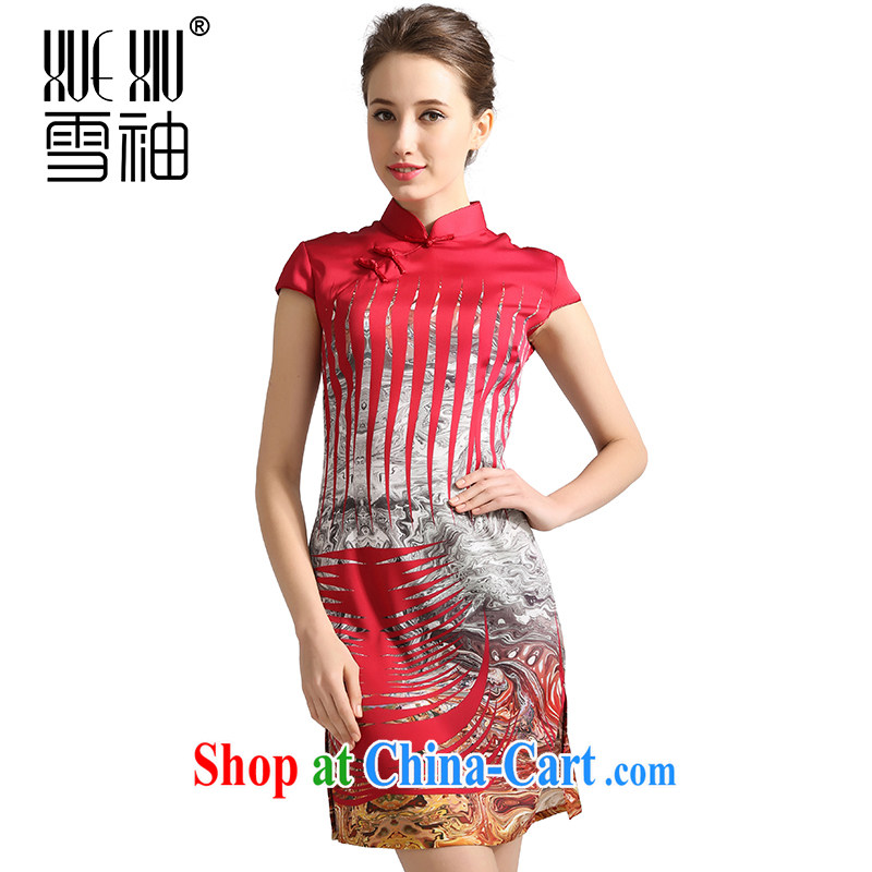 Summer clearance summer clearance snow cuff spring 2014 Jurchen, silk cheongsam sauna silk stamp dresses dresses the silk girls skirt red XXL