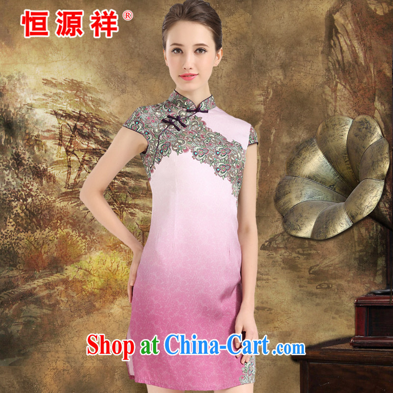 HANG SENG Yuen Cheung-spring and summer new stamp Silk Cheongsam sauna silk Womens silk silk Jurchen Silk Dresses pink XXL