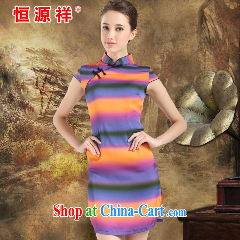 HANG SENG Yuen Cheung-2014 spring and summer new paragraph for the Jurchen Silk Cheongsam sauna silk The silk silk girls dress Rainbow XXL