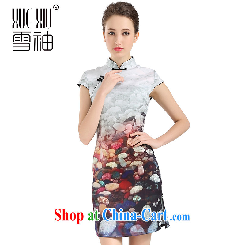 Snow cuff 2014 spring and summer Jurchen, Silk Cheongsam sauna silk heavy silk Silk Dresses stamp silk skirt white M