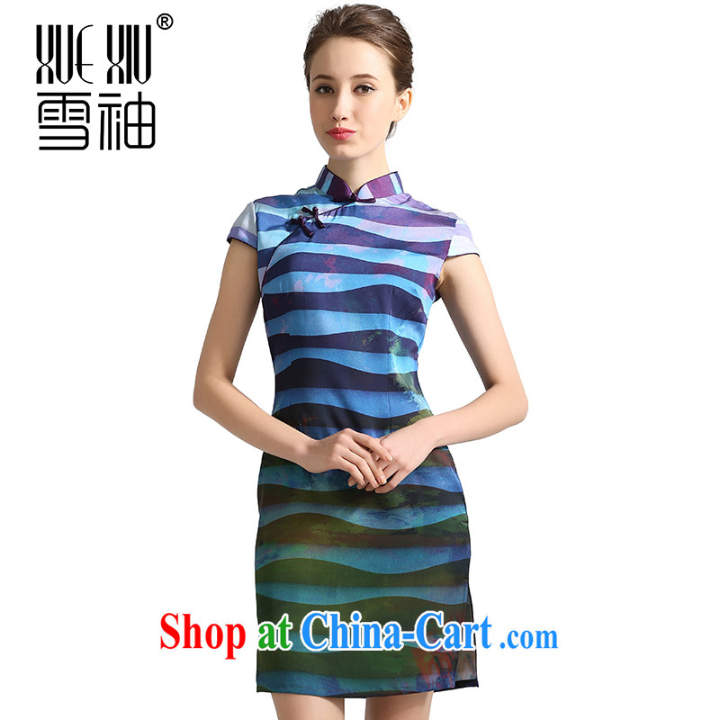 Snow cuff 2014 spring and summer, stamp duty is silk dresses sauna silk The Silk Cheongsam Jurchen silk skirt blue XXL