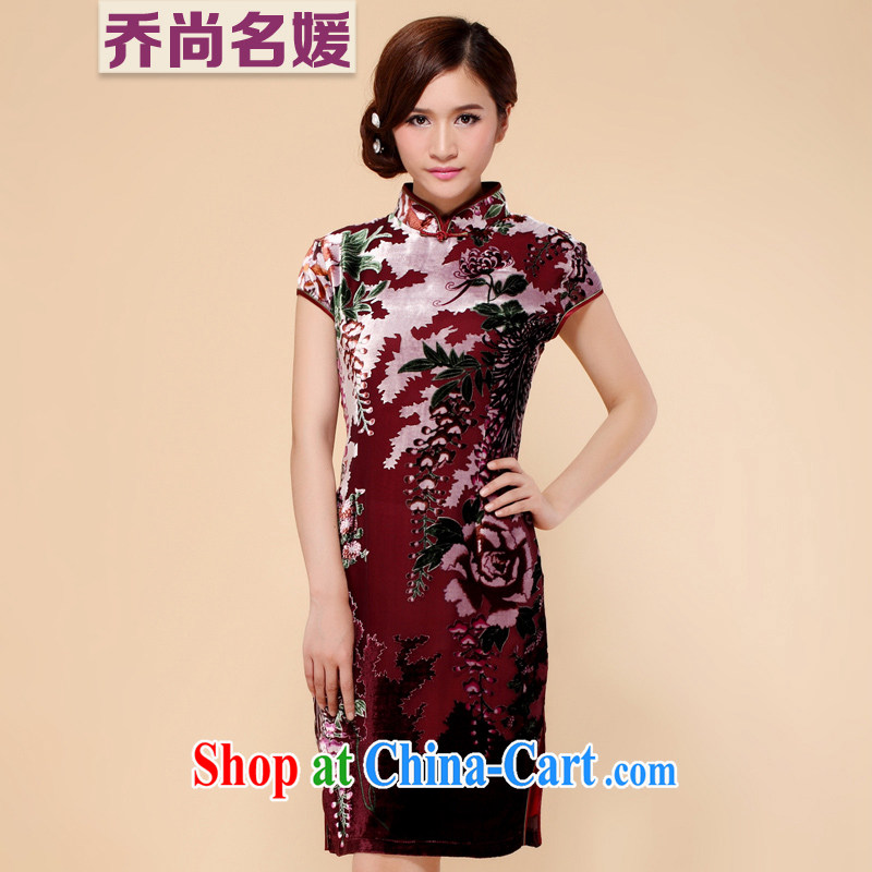 True velvet cheongsam dress summer dress improved wedding mother banquet C 1160 purple XXXL _2 feet 4 back_