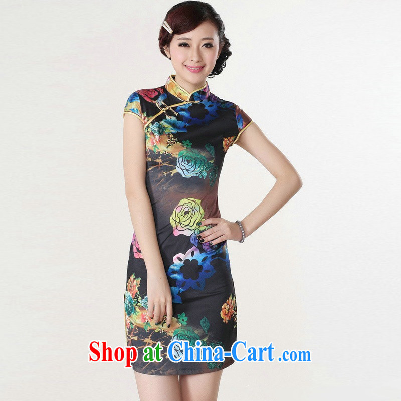Jessup, new improved stylish stamp duty, short-sleeved hand tie cheongsam Chinese dresses girls retro dresses TD 0195 #blue XXL