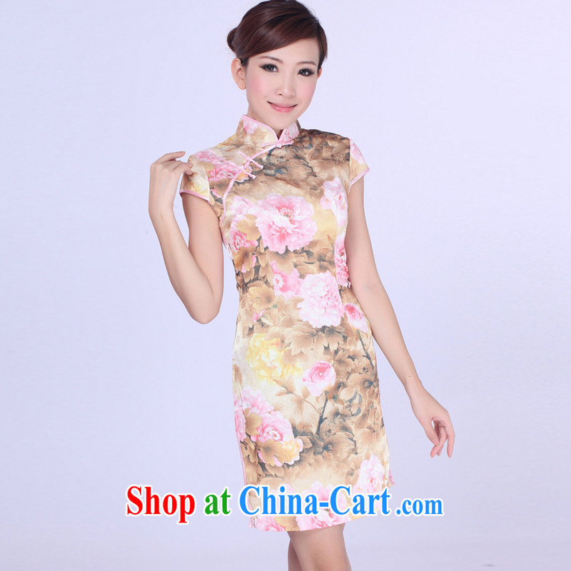 Jessup, new improved retro fashion, for manual for short-sleeved dresses female Chinese qipao Chinese qipao TD 0191 _pink XXL