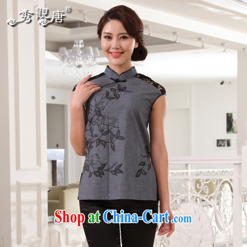 The CYD HO Kwun Tong' for flowers beauty linen Chinese Chinese improved 2015 summer female T-shirt G 13,467 gray XXXL