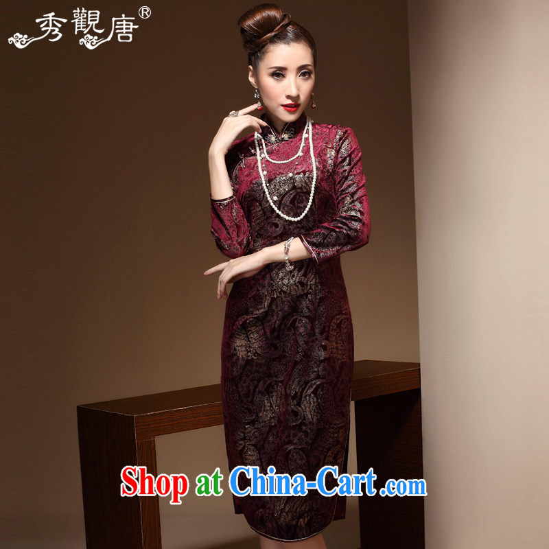 The CYD HO Kwun Tong' Chan in Hong Kong elderly high quality wool dresses 2015 spring long sleeves in cheongsam dress skirt QZ 3812 wine red M