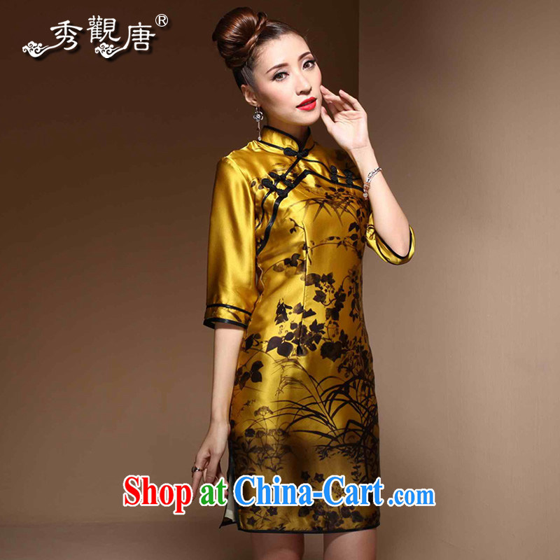 The CYD HO Kwun Tong Jin, Cayman 2015 spring new cuff in Silk Cheongsam sauna silk retro dresses skirts QZ 3811 gold XL