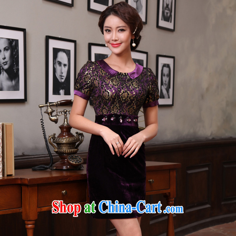 The CYD HO Kwun Tong' true feelings of spring 2014 in velvet cuff improved cheongsam stitching lace fashion cheongsam dress skirt G 85,882 short-sleeved purple L