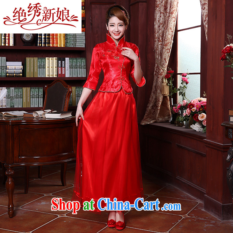 There is embroidery bridal 2015 new marriage improved long 7 cuff antique beauty bridal dresses red XXL Suzhou shipping
