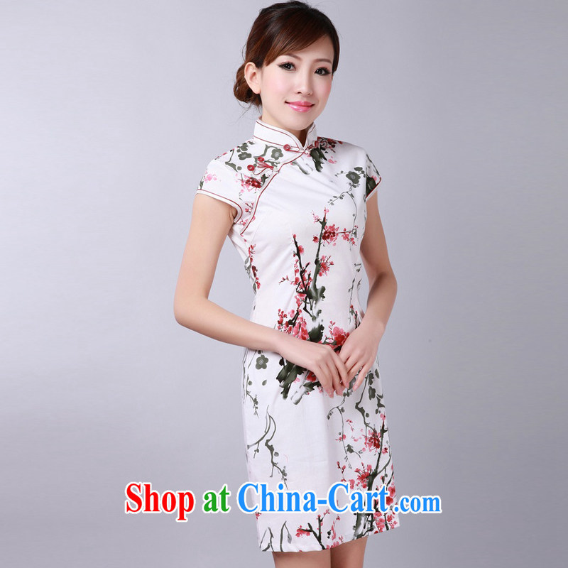 Jessup, new retro improved manual for short-sleeve and collar cheongsam dress Chinese cheongsam qipao cotton TD #0174 white saffron XXL