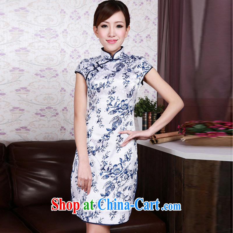 Jessup, new improved retro elegant stamp duty, for manually snap cheongsam dress Chinese qipao cotton robes TD 0175 _Blue on white flower XXL