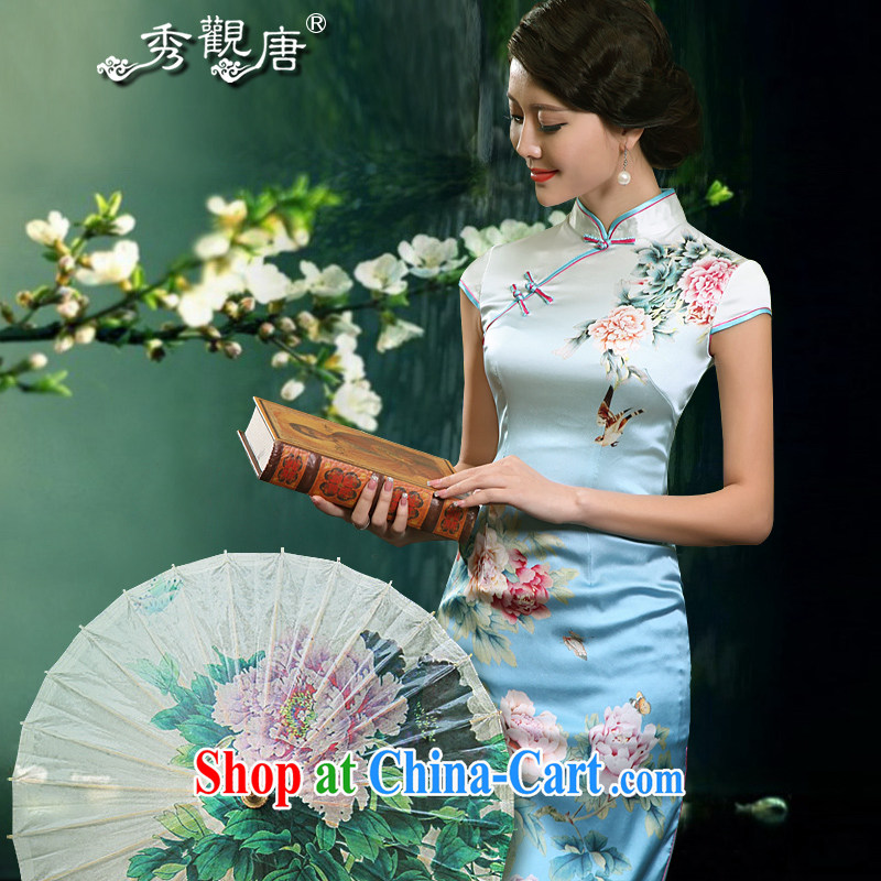 The CYD HO Kwun Tong' Peony Pavilion heavy Silk Cheongsam 2015 summer retro upscale silk mother load cheongsam dress G suit 81,155 short M