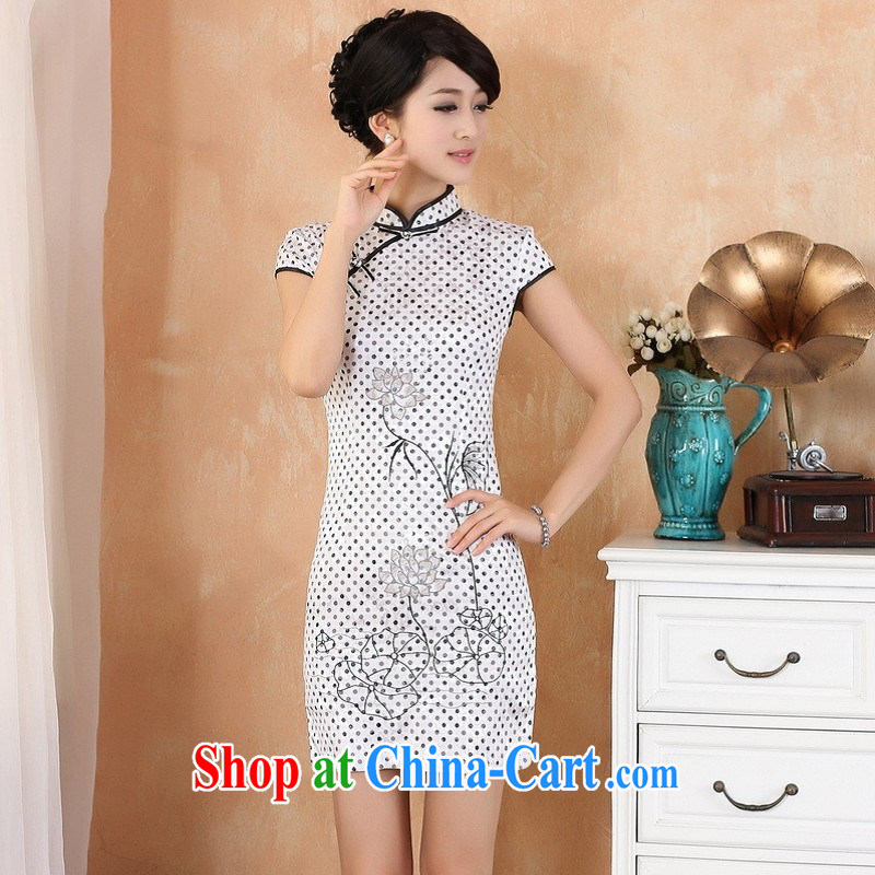 Nigeria, the 2014 new summer gardening little lotus in long, short-sleeved, for improved China wind cheongsam Chinese clothing show white 2XL
