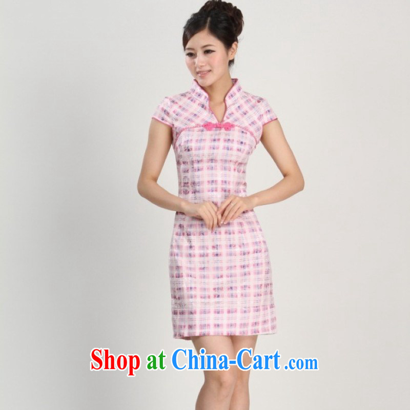 Nigeria, the 2014 new spring and summer, for grid National wind improved short-sleeved, long, short dresses with pink M