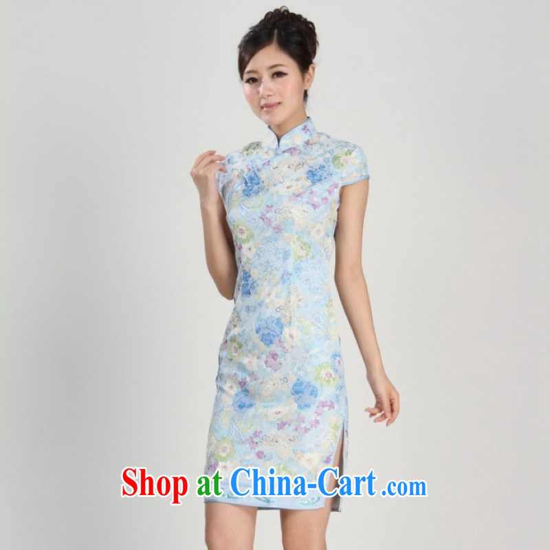 Nigeria, the 2014 new spring and summer, for China wind improved short-sleeved, long cheongsam Chinese show clothing - 1 blue S