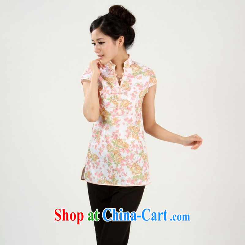 Nigeria, the 2014 new summer, short-sleeved, in hand-painted Chinese wind improved cheongsam Tang - 2 orange L