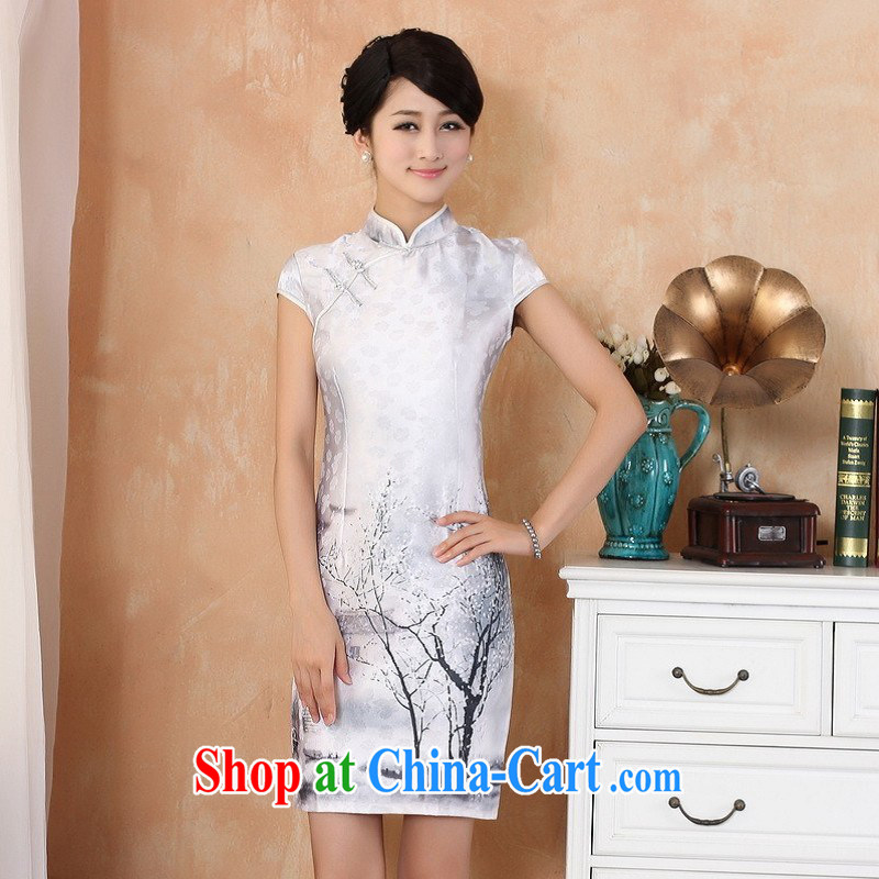 Nigeria, the 2014 new summer, in long, China wind improved hand-painted short-sleeved qipao Tang - 2 white 2XL