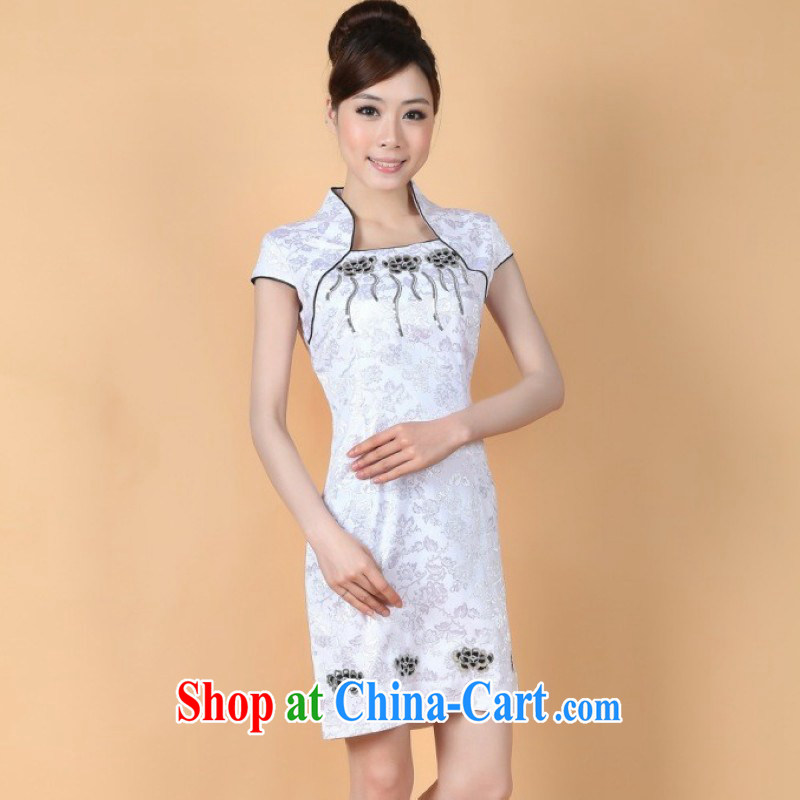 Nigeria, the 2014 New in the summer long-waist short sleeves and collar hand-painted improved cheongsam Chinese clothing show white M