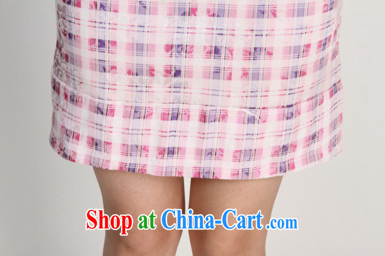 Floor is still building female new summer, for grid National wind improved short-sleeved, long, short cheongsam women pink M pictures, price, brand platters! Elections are good character, the national distribution, so why buy now enjoy more preferential! Health