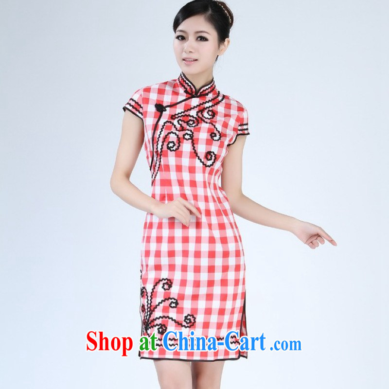 Floor is floor female new summer, for grid China wind improved short-sleeved qipao Chinese female - 1 red 2 XL