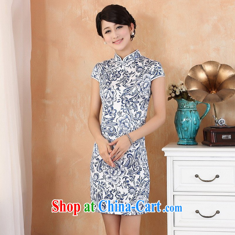 ground floor is still building female new summer for the cheongsam Chinese wind improved short-sleeved hand-painted antique dresses Ms. female white XL