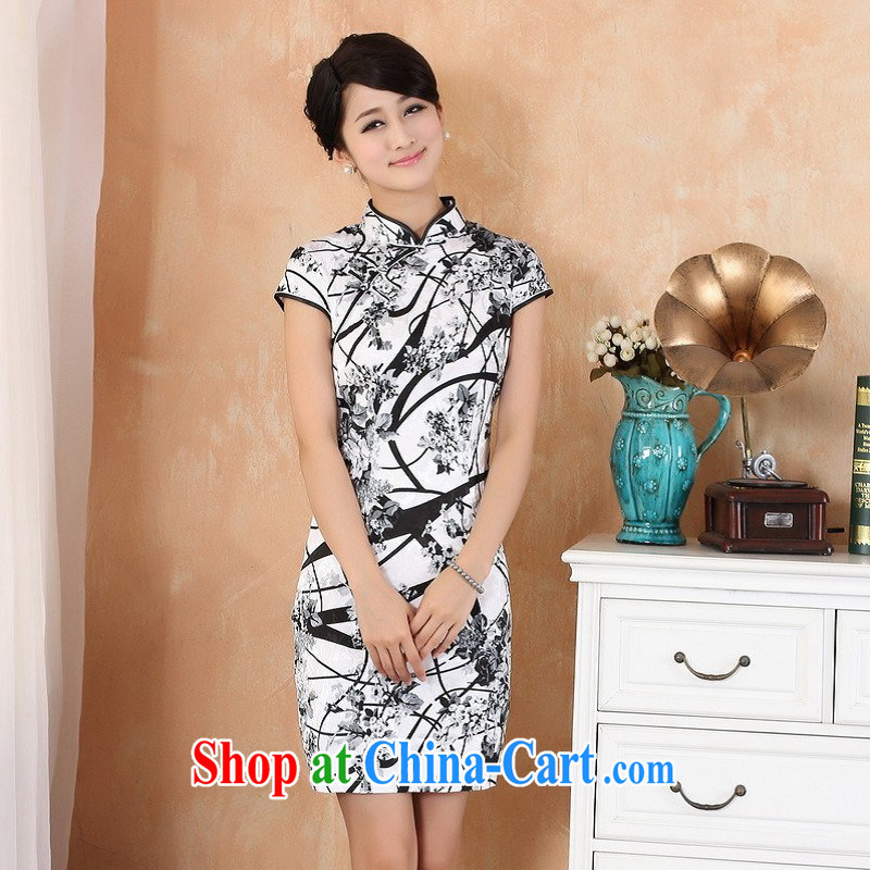 Floor is still building female new paragraph in summer, long and short-sleeved China wind improved hand-painted cheongsam Chinese female show clothing - 1 white 2XL
