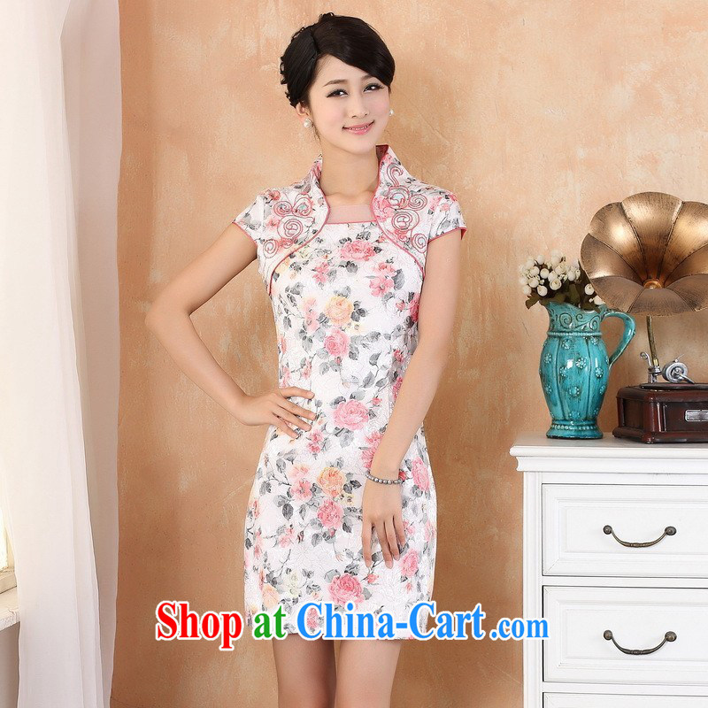 Floor is still building female new summer, long, and Ms. collar cheongsam manual China wind improved short-sleeved Chinese qipao white M