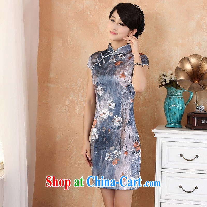 Floor is still building female new summer, in long, China wind improved hand-painted, short-sleeved qipao Chinese female - 1 gray 2 XL