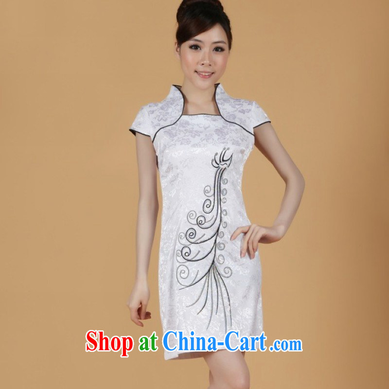 Floor is still building female new summer, in long, short-sleeved dresses hand-painted improved cheongsam Chinese clothing show girls - 1 white S