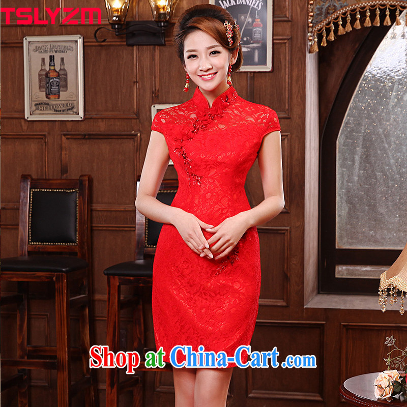 Angel, manually in accordance with flowers, dresses 2015 new marriages bows short cheongsam dress improved retro dresses bridal toast serving short flag red L