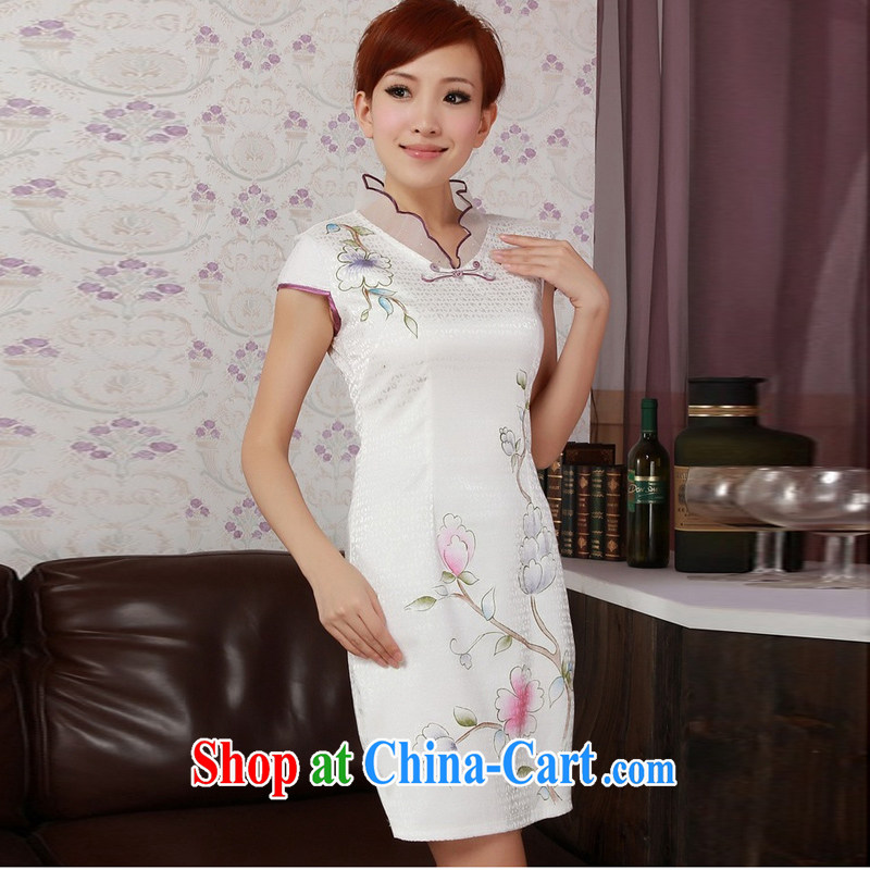Jessup, new, improved retro lace-collar hand-tie short-sleeved cultivating cheongsam dress cheongsam Chinese Chinese clothing TD 0188 _white XXL