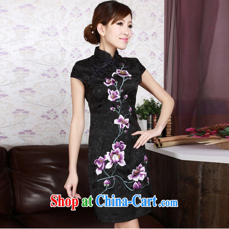Jessup, new retro Ethnic Wind embroidery, for manual for short-sleeved cultivating cheongsam dress Chinese cheongsam TD 0179 #black XXL