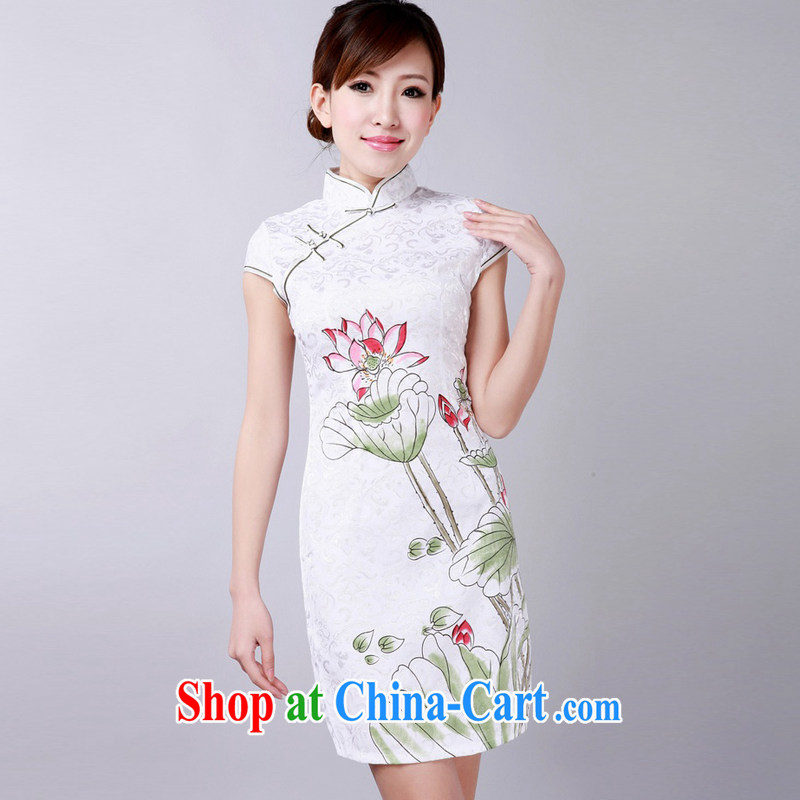 Jessup, new retro improved, for manual for short-sleeved stamp cheongsam dress Chinese cheongsam hand painted dresses TD 0178 #white XXL