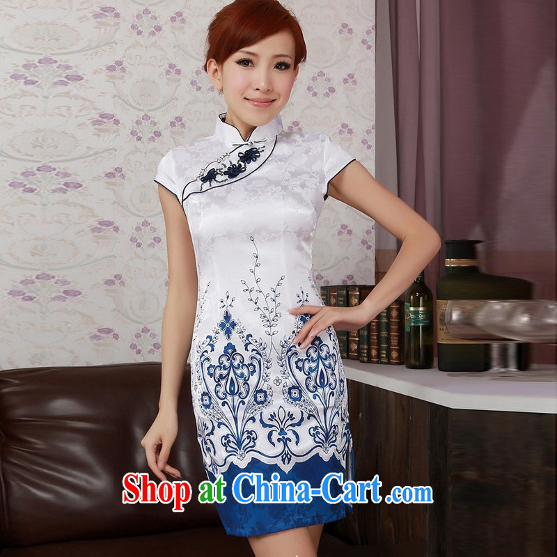 Jessup, new retro improved manual tray charge stamp duty short-sleeve and collar cheongsam dress Chinese cheongsam Chinese qipao TD 0185 _white XXL
