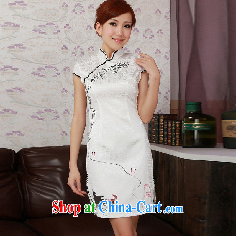 Jessup, new, fresh and elegant, for manual for short-sleeved stamp cheongsam dress Chinese cheongsam Chinese shirt TD 0189 _white XXL