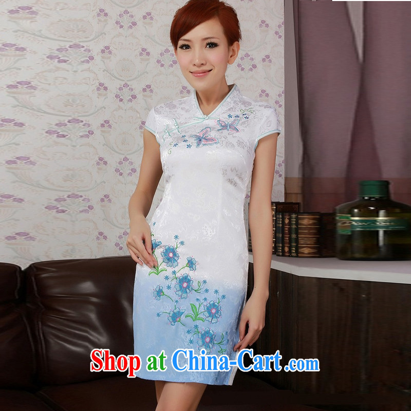 Jessup, new retro improved national embroidered short sleeves V collar cheongsam dress cheongsam Chinese Chinese qipao TD 0186 _white XXL