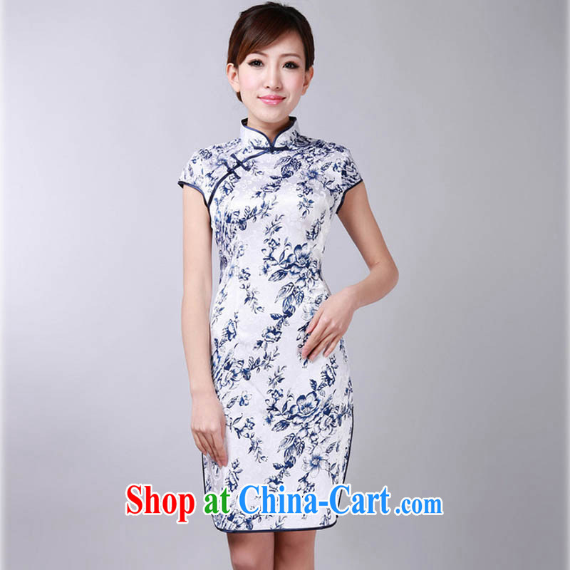 Summer 2015 new Stylish retro high-end jacquard cotton stamp duty, for improved short-sleeve edge-'s graphics waist cheongsam dress D 0175 white Orchid 175/2 XL