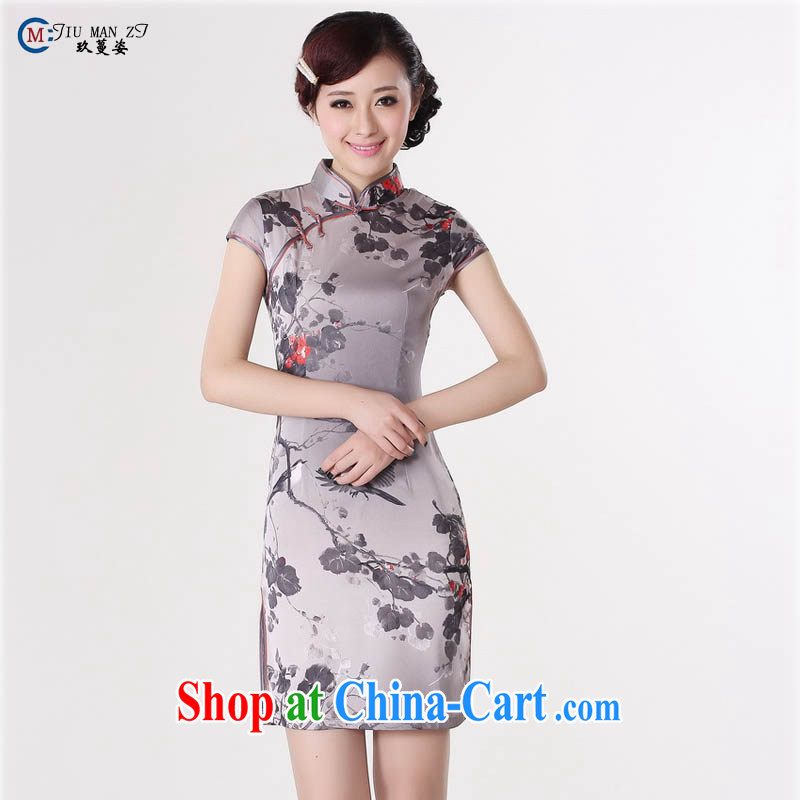 Summer 2015 new Stylish retro high-end silk hand-tie stamp duty, for improved short-sleeved low-power's graphics waist cheongsam dress D A 0197 light gray 165_L