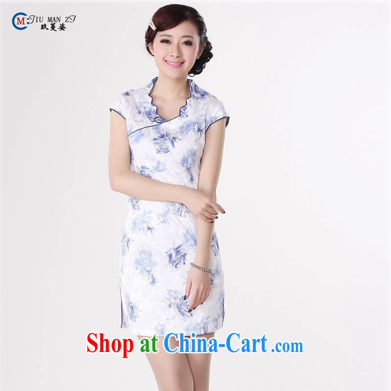 Summer 2015 new Stylish retro high-end jacquard cotton stamp V for improved short rust-'s graphics waist cheongsam dress D 0206 Map Color 175/2 XL