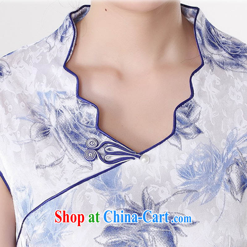 Summer 2015 new Stylish retro high-end jacquard cotton stamp V for improved short rust-'s graphics waist cheongsam dress D 0206 Map Color 175/2 XL, capital city sprawl, shopping on the Internet