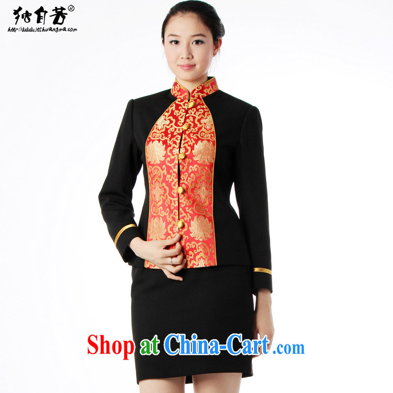 Left alone, 2014 new hotel staff uniform autumn and winter long-sleeved Chinese hotel restaurant Chinese attendants work clothing set a dress pants women's coats + pants XS