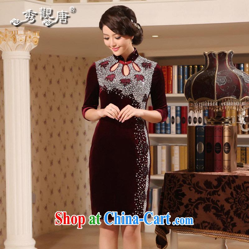 The CYD HO Kwun Tong' noble lady upscale velvet cheongsam 2015 summer staple manually Pearl upscale dress mom with velvet cuff in cheongsam G 242 cuff in wine red XXXL