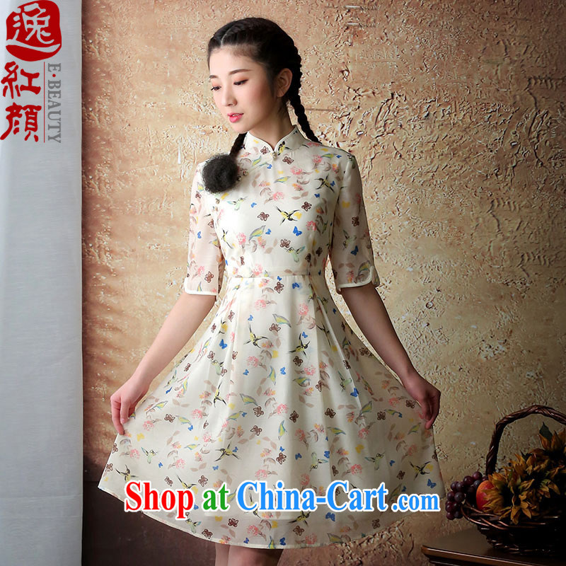 once and for all if fatally jealous feathers spring and summer with new, improved cheongsam Stylish retro cheongsam dress female cheongsam dress yellow S
