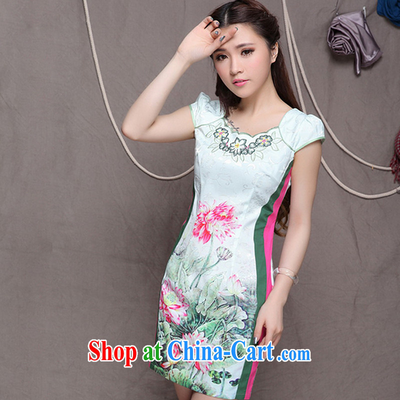 Shallow end China wind stylish Ethnic Wind women fine improved cheongsam dress style dresses ZMY 9909 map color S