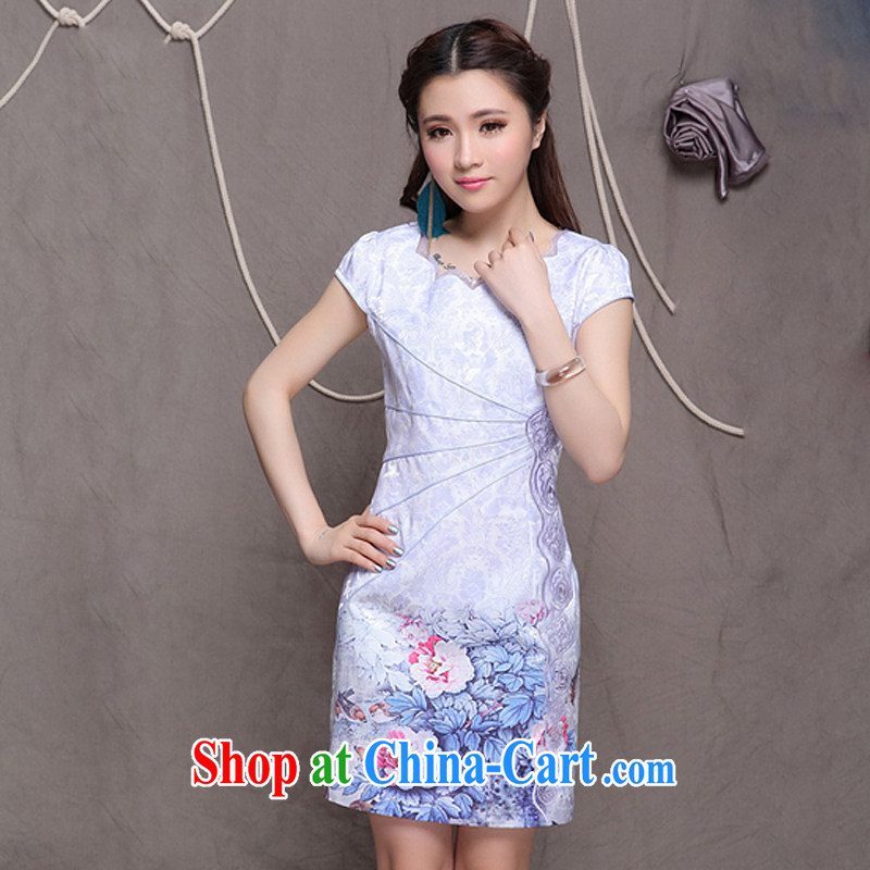 Shallow end, high-end Ethnic Wind women's clothing Chinese qipao dress retro beauty cheongsam dress ZMY 9902 blue S