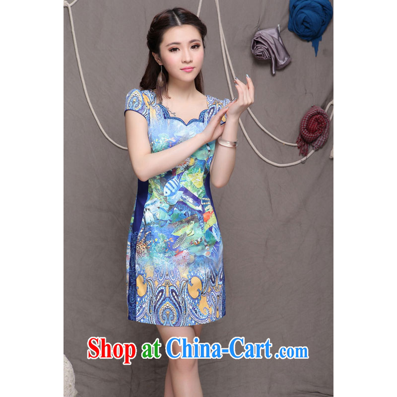 Shallow End Ethnic Wind stylish embroidered high-end cheongsam dress Daily Beauty graphics build cheongsam H 9908