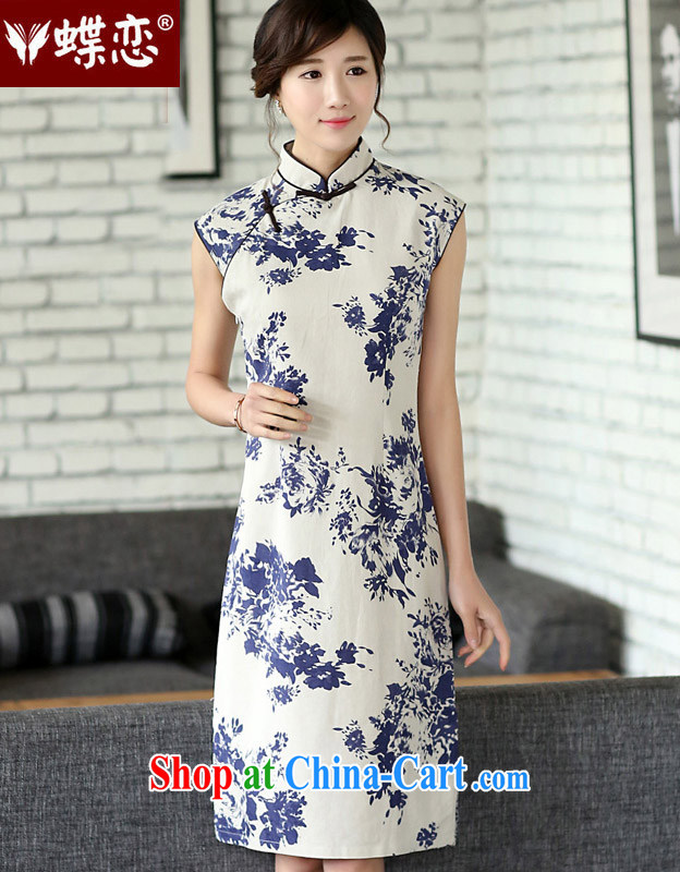 Butterfly Lovers 2015 spring new women with improved cotton the cheongsam dress blue and white porcelain daily outfit 45,005 celadon dream XL