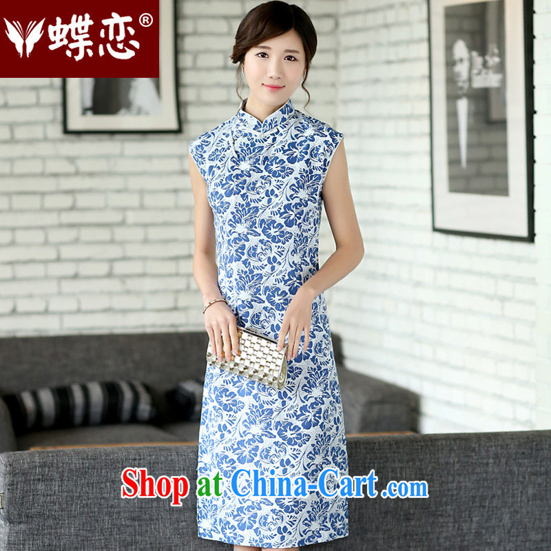 Butterfly Lovers 2015 spring new female national retro improved cheongsam dress daily fashion outfit beauty 45,007 small Orchid XXL