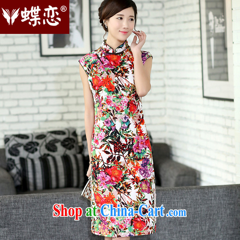 Butterfly Lovers 2015 spring new female hand-tie cheongsam dress improved linen dresses beauty 45,009 jungle take Sin XXL