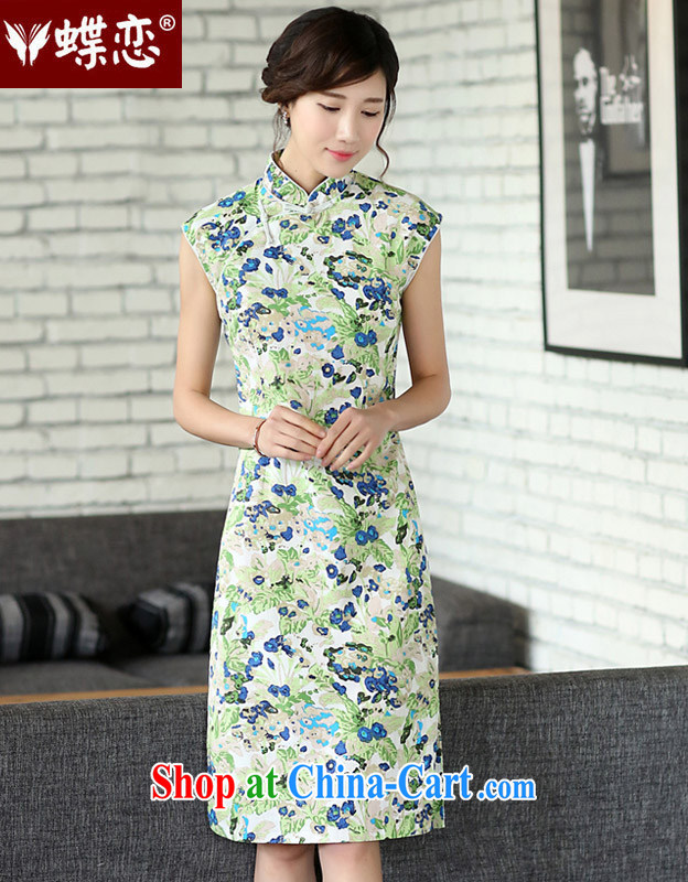 Butterfly Lovers 2015 spring new Ethnic Wind improved cultivation linen dresses for the cheongsam dress 45,017 blue out of the blue XXL